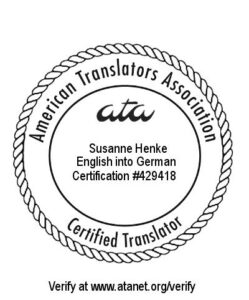 Die Qualifikation als Zertifizierter Übersetzer (CT) der American Translators Association ist die weltweit anerkannteste Zertifizierung für Übersetzer. Voraussetzung ist die erfolgreiche Absolvierung einer anspruchsvolle Prüfung, deren Erfolgsquote unter 20 % liegt.Dabei werden Dokumente auf einem sehr hohen fachlichen Niveau übersetzt.